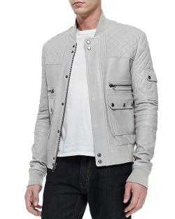 Andrew Marc x Richard Chai  - Knox Leather Bomber Jacket, Dove Gray