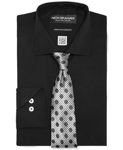Nick Graham - Black Solid Dress Shirt & Tie Set