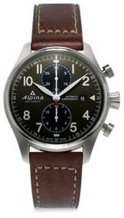 Alpina - Sapphire Crystal Leather Strap Watch