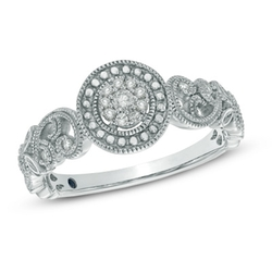 Cherished Promise Collection - Diamond Scroll Promise Ring