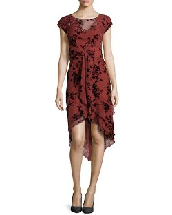 Zac Posen	  - Floral-Flocked Tiered Chiffon Dress