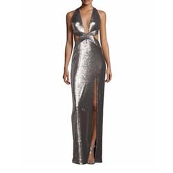 Halston Heritage  - Sleeveless Cutout Metallic Column Gown