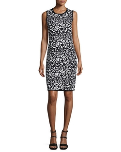 Carmen By Carmen Marc Valvo	  - Leopard-Print Jacquard Sheath Dress