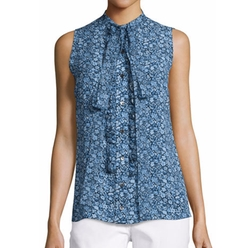 Michael Kors - Floral-Print Chiffon Tie-Neck Blouse