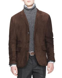 Brunello Cucinelli - Suede Three-Button Thermore Jacket