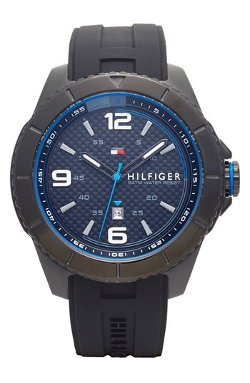 Tommy Hilfiger  - Carbon Fiber Dial Silicone Strap Watch