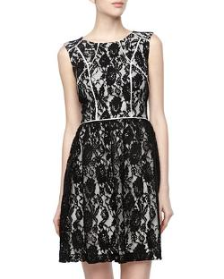 Ivy & Blu -  Lace Overlay Sateen Knit Sleeveless Dress