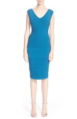 Versace Collection  - Intarsia Knit Cap Sleeve Sheath Dress