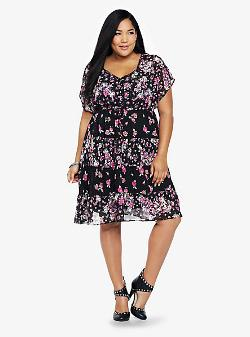 Torrid - Floral Twin Print Chiffon Dress