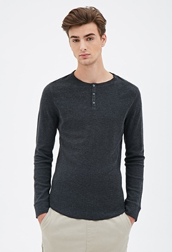 Forever21 - Paneled Thermal Henley Shirt