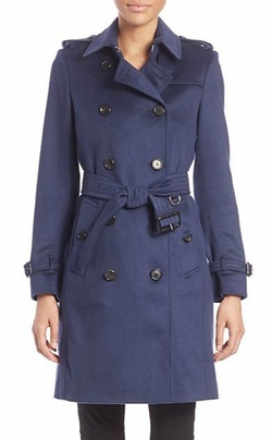 Burberry London - Kensington Empire Blue Cashmere Trench Coat
