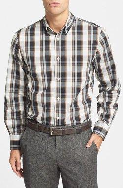 Nordstrom  - Regular Fit Washed Plaid Sport Shirt