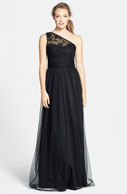 Amsale  - Lace & Tulle One-Shoulder Gown