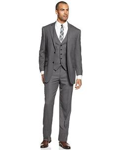 Perry Ellis  - Comfort Stretch Grey Sharkskin Vested Suit