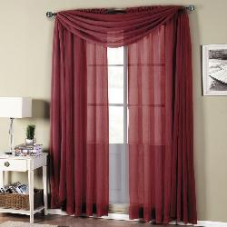 Royal Tradition  - Abri Rod Pocket Crushed Sheer Curtain Panels Burgundy