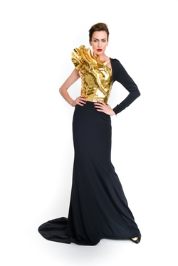 "Stéphane Rolland - Asymmetrical Long Dress with Silicone Gold ""Sculpture"" Bustier"