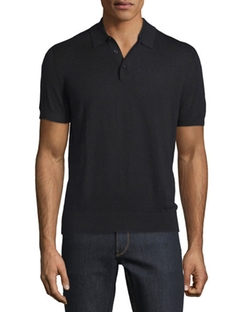 Michael Kors  - Cotton/Silk Short Sleeve Polo Shirt