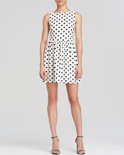 Aqua Dress - Polka Dot V Back Dress