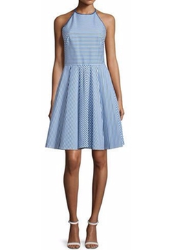 Michael Kors Collection  - Sleeveless Halter-Neck Striped Mini Dress