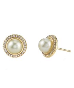 Nolan - Diamond Pearl Stud Earrings