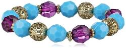 1928 Jewelry - Mykonos Gold-Tone Multi-Colored Beaded Stretch Bracelet
