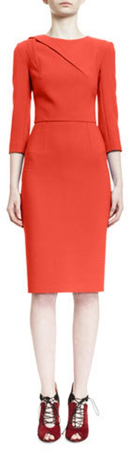 Roland Mouret - Draped-Shoulder 3/4-Sleeve Sheath Dress