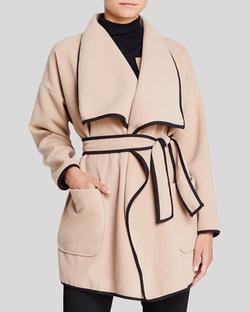 Vince Camuto - Contrast Trim Wrap Coat
