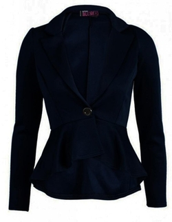 Gorgeous Mode - Crop Frill Shift Peplum Blazer