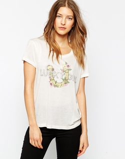 Ganni  - Floral Print Lucky Girl Short Sleeve T-Shirt