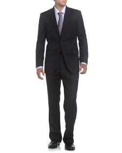 Neiman Marcus  - Solid Wool Modern Fit Suit, Navy
