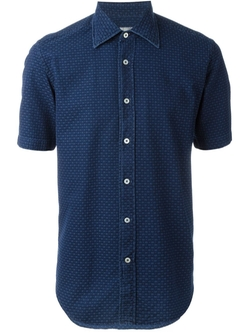 Canali   - Textured Short Sleeve Button Down Shirt