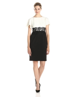 Adrianna Papell  - Short-Sleeve Lace-Waist Dress