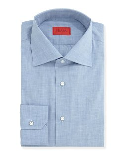 Isaia   - Woven Chambray Solid Dress Shirt