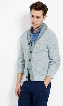 Express - Marled Contrast Shawl Collar Cardigan