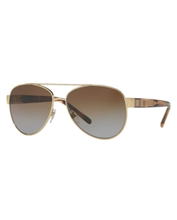 Burberry  - Acoustic Core Check-Temple Metal Aviator Sunglasses