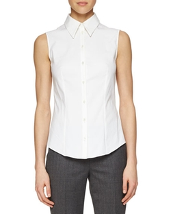 Michael Kors Collection  - Sleeveless Poplin Button Blouse