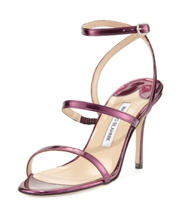 Manolo Blahnik  - Didin Metallic Strappy High-Heel Sandals