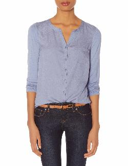 The Limited - Woven Front Henley Blouse