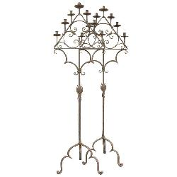 Xavier Nicod - Pair French 19th Century Wrought Iron Candle Holders