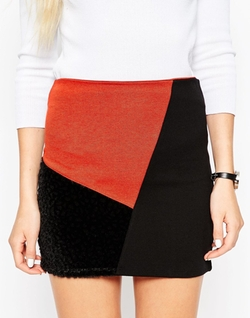 Asos - Mini Skirt In Patchwork Color Block