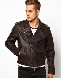ASOS  - Leather Biker Jacket In Slim Fit