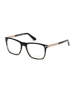 Tom Ford - Square Black Horn Eyeglasses