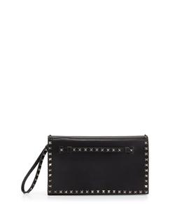 Valentino - Rockstud Leather Full-Flap Clutch Bag