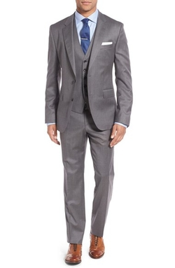 Boss - Three-Piece Solid Wool Suit