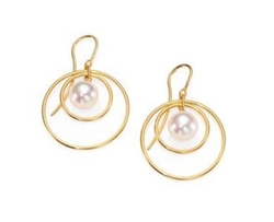 Majorica - Round Pearl Circle Drop Earrings