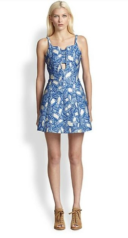 Opening Ceremony  - Painted Leaves Jacquard Cutout Dress