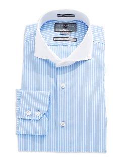 Black Brown  - 1826 Slim Fit Striped Dress Shirt