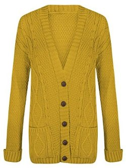 Trendy Clothings - Ladies Chunky Cabel Knitted Grandad Cardigan
