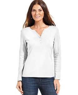 Karen Scott  - Petite Long-Sleeve Henley Top