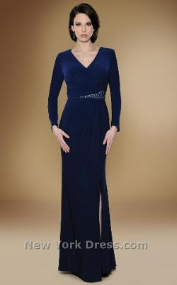 Rina Di Montella - Draped Beauty Long Sleeve Dress